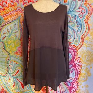 AKIRA Long Sleeve Grey Purple Sheer Top Sz S